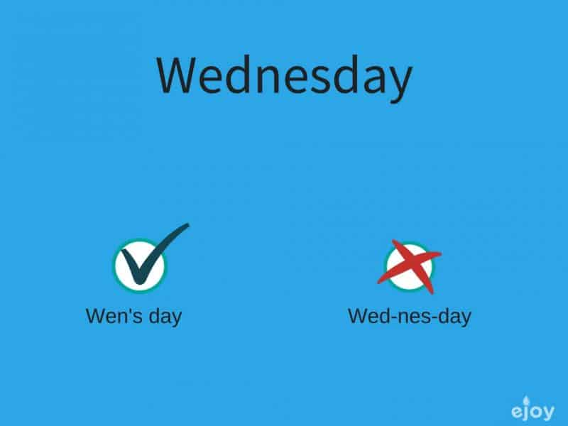 mispronounced words in English - wednesday