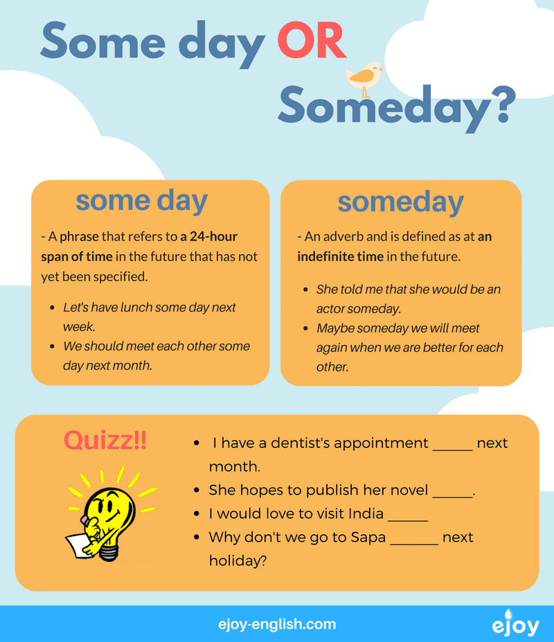 confusing words in English - someday or some day