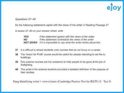 Identifying writer's views/claims (Cambridge Practice Test for IELTS 12-Test 5-Reading Task Type)