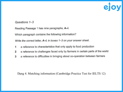 Matching information (Cambridge Practice Test for IELTS 12-Reading Task Type)