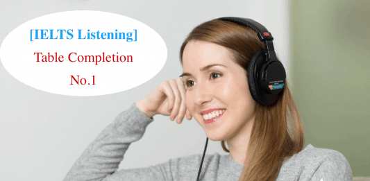 dạng bài nghe IELTS Listening - Table completion