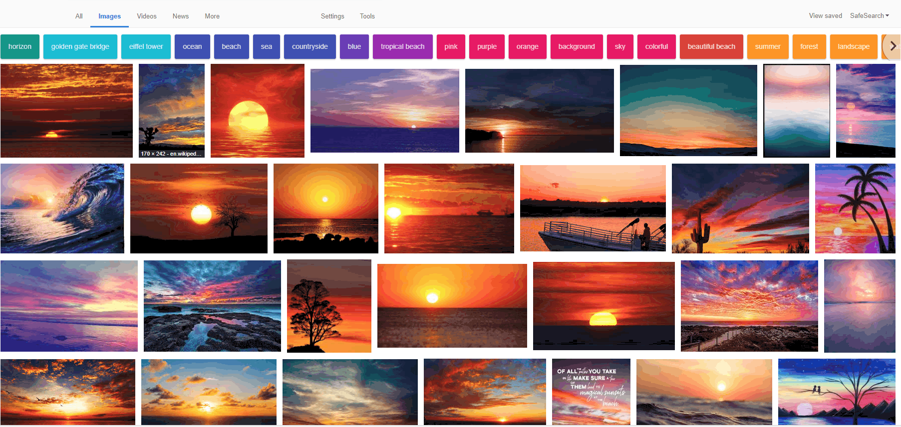 Searching for 'sunset' on Google image