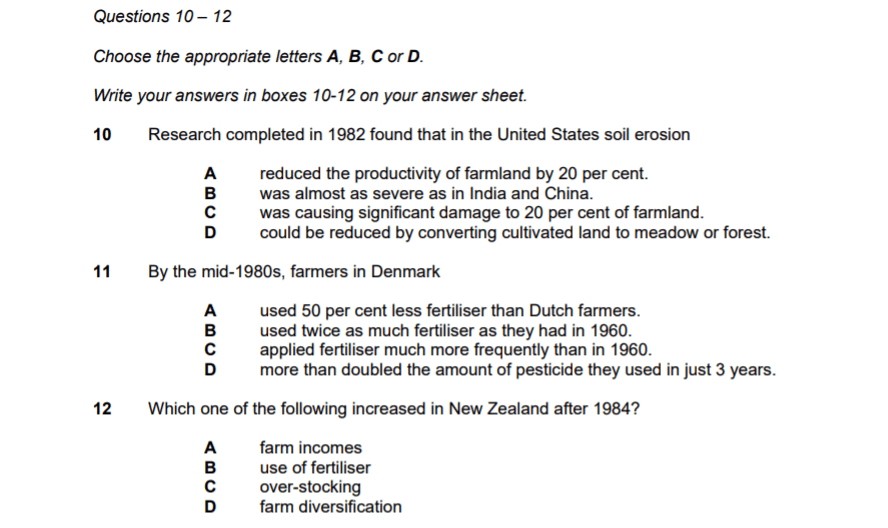 Example of the IELTS multiple choice questions