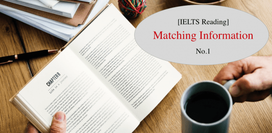Matching information question type in IELTS Reading