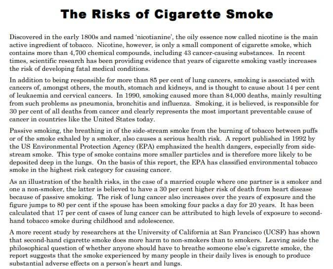 Practice Test: The risks of cigarette smoke