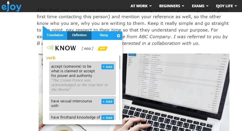 Write inquiry response email with eJOY