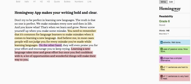 Hemingway Editor - Best writing apps to improve English writing skills