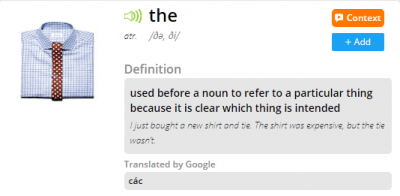 Click the 'Add' button to save English definition