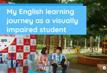 Visually Impaired Student Studies English