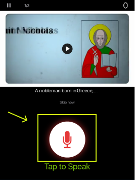 press on the microphone icon to record your voice