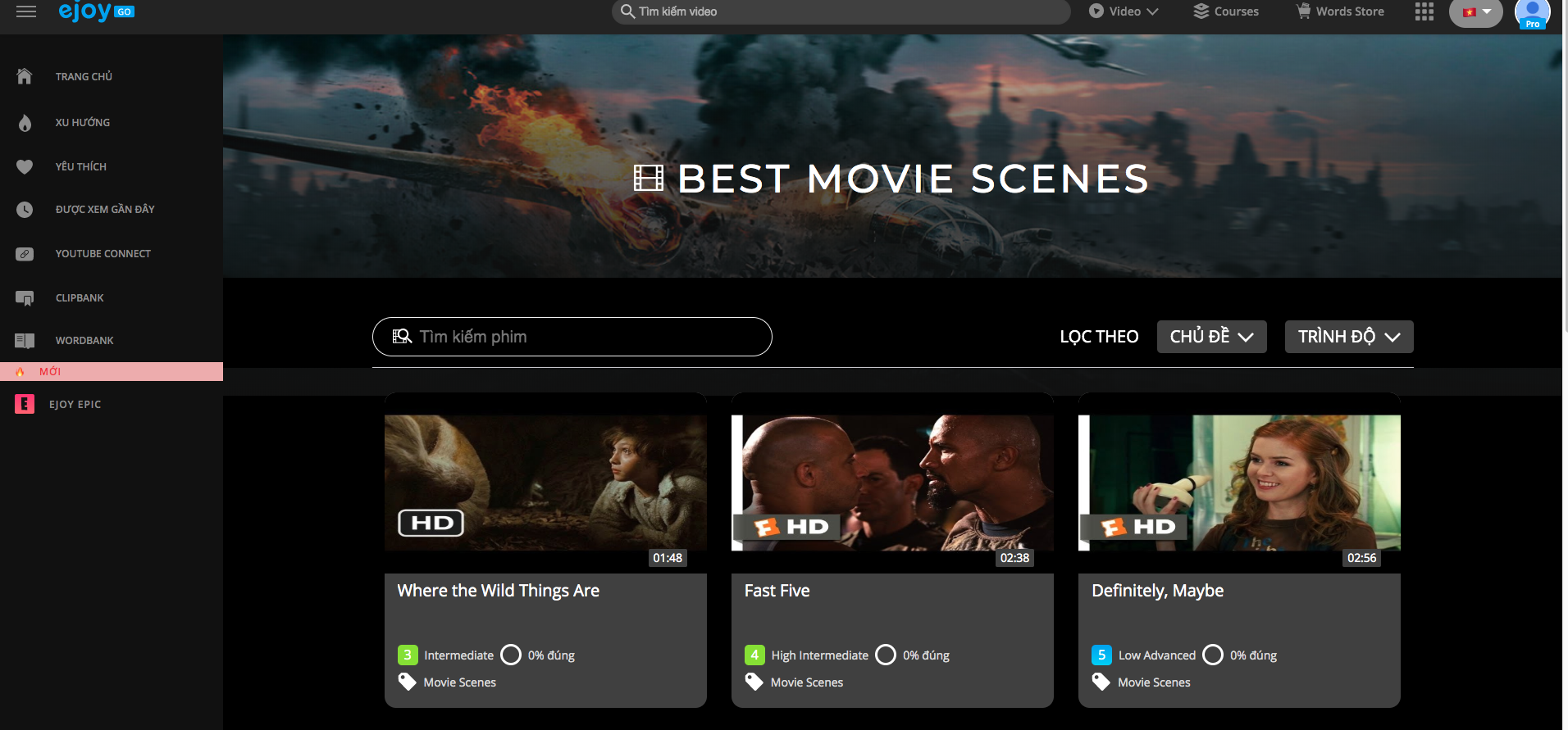 Access eJOY Go and select Movie Training/ Best movie scenes