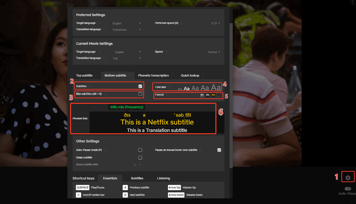 Settings subtitles