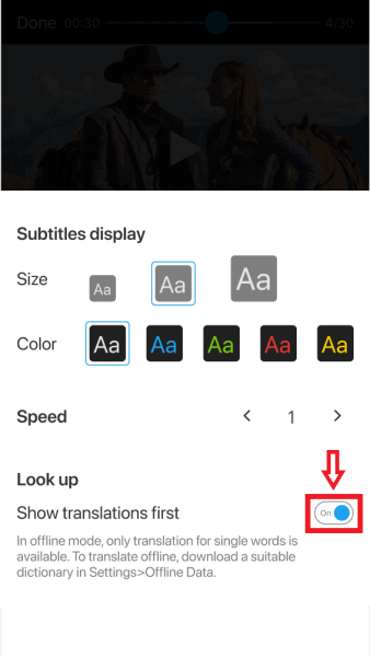 Turn on Show translations first under Look up